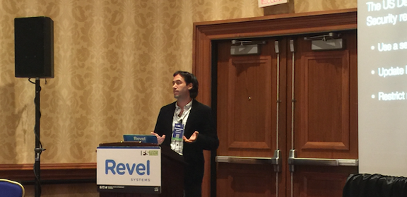 Chris Ciabarra, CTO and co-founder of Revel Systems, presenting his Enterprise & Information Security keynote