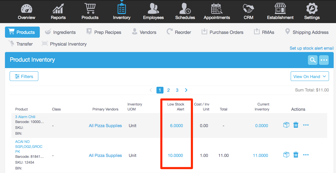 Revel's management console offers functions, like reorder notifications, to make inventory ordering a breeze.