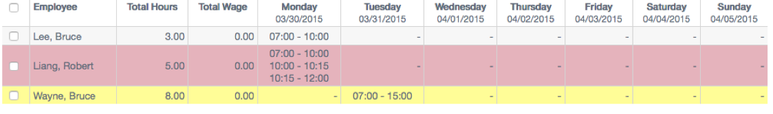 ttf-color coded schedules