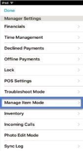 Manage Item Mode